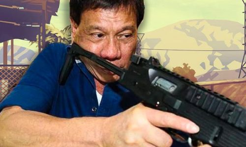 Rodrigo Duterte aiming a gun