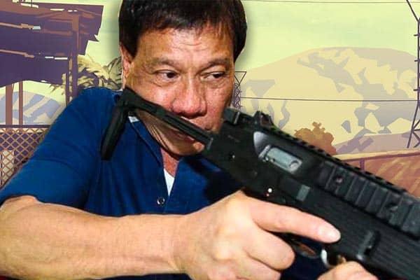 Rodrigo Duterte aiming a gun