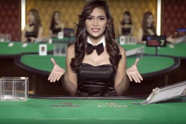 hostess at a live casino table at a pogo site